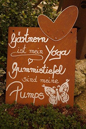 Edelrost Tafel Yoga Gedichttafel Wandschmuck Geschenk Herz Garten Terrasse Schild Spruch