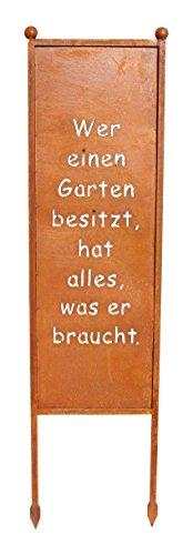 SchildSpruchtafel  Wer einen Garten besitzt zum Einstecken 115cm