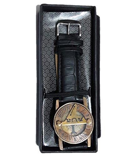 Parijat Handarbeits-Armbanduhr mit Kompass und Sonnenuhr Messing mit schwarzem Lederarmband Sonnenblatt