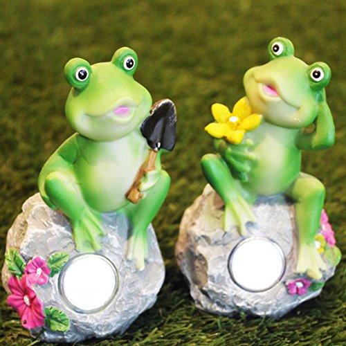 Kamaca 2 er Set SOLAR Frosch Party mit Dämmerungssensor - mit Leuchtenden Augen - mit Solar - Panel - für Das Beet den Garten Balkonkasten und Teich