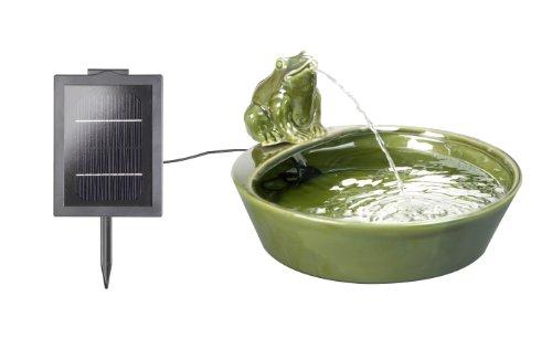 Primrose Solar-Wasserspiel aus Keramik mit Frosch-Figur