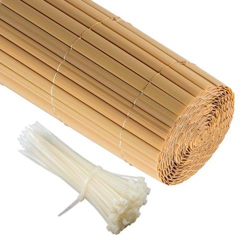 Jarolift PVC Sichtschutzzaun Sichtschutz-Matte 120 x 400cm bambus inkl 50 Kabelbinder transparent