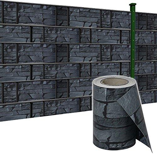 SAILUN 65m x 19cm Sichtschutzstreifen mit 30 x Befestigungsclipse Sichtschutz Streifen Doppelstabmattenzaun PVC Blickdicht für Einzel- und Doppelstabmatten geeignet 65m x 19cm Schiefer