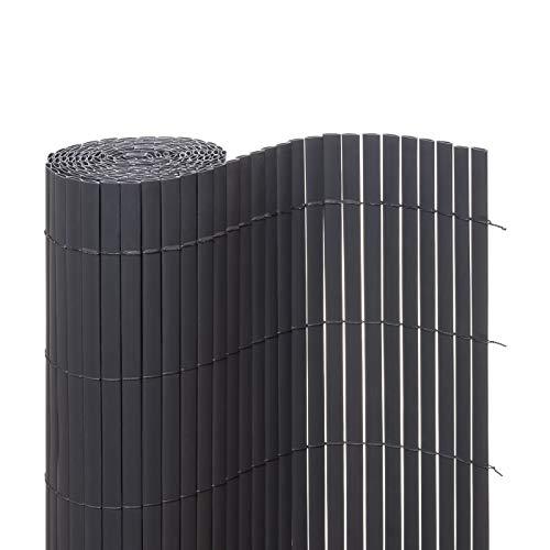 Ventanara Sichtschutzmatte PVC Sichtschutzzaun Sichtschutz Windschutz für Garten Balkon Terrasse 100 x 400 cm Grau