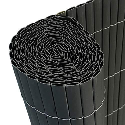HENGMEI 300x90cm PVC Sichtschutzmatte Sichtschutzzaun Anthrazit - Zaun Sichtschutz Windschutz Blickdicht fur Garten Balkon und Terrasse 300x90cm Anthrazit