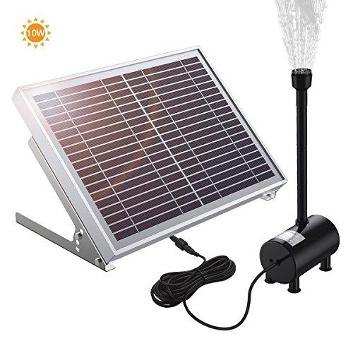 POWERADD Solar Teichpumpe 10 Watt Solar Springbrunnen mit dem Solarmodul 100-1350 lh Förderleistung 30-200 cm Förderhöhe Komplettset Gartenteich