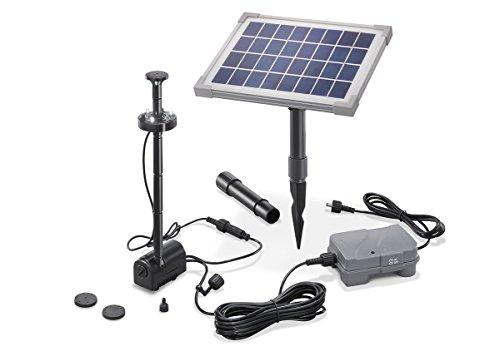 Solar Teichpumpe 5 Watt Solarmodul 160 lh Förderleistung mit Akku und LED Beleuchtung 50 cm Förderhöhe esotec pro Komplettset Gartenteich 101920