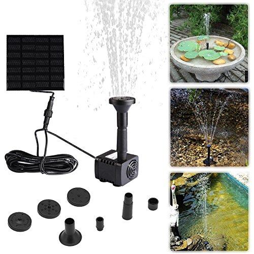 Liqoo Solar Pumpe Springbrunnen Teichpumpe für Garten Wasserpumpe für Miniteich mit 4 Verschiedenen Düsen 180 Lh  Höhe 06 m  11 W