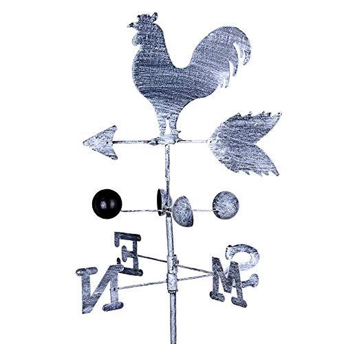 Metall Hahn Wetterfahne 47  10in Traditionelle Dekoration Vintage Retro Hahn Wetter Schaufel Wind Geschwindigkeit Richtung Indikator für Garten Flachdach Hausdach