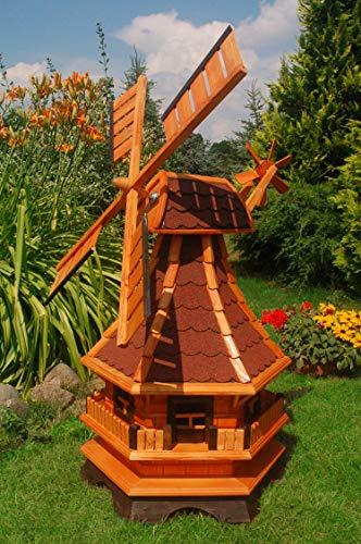 Deko-Shop-Hannusch Windmühle 2 stöckig kugelgelagert 130 m Bitum rot mit Beleuchtung Solar Solarbeleuchtung mit extra Windrad hinten am Kopf imprägniert