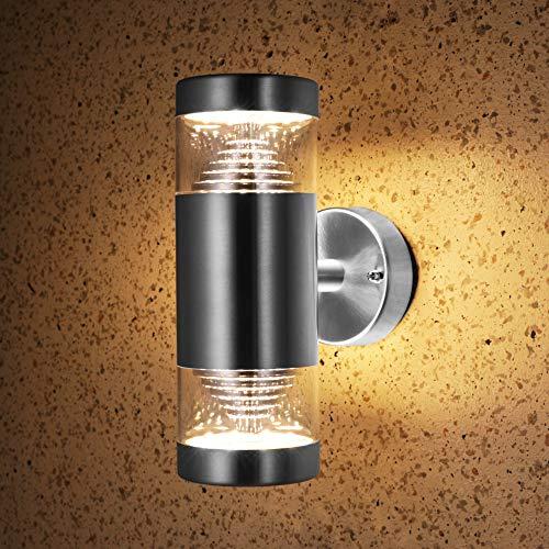 NBHANYUAN Lighting LED Außenwandleuchte Up Down Wandlampe Edelstahl Wandleutche Zylinder Aussenleutche für Haus Balkon Außenwand Beleuchtung 220-240V 9W 1000LM Stil 1