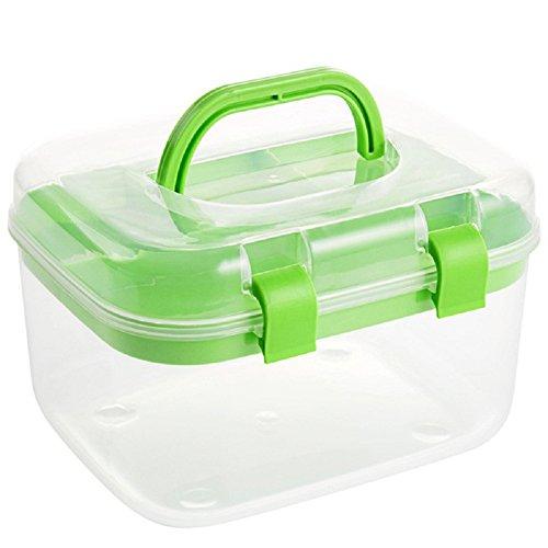 Aufbewahrungsboxen sehr nützlich Kästchen doppelte Schichten Kunststoff für Kosmetik Nähen-Studie-Bedarf mit Deckel plastik grün 1651312