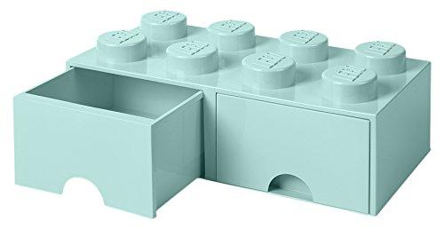 LEGO 4006 Brick 8 Knöpfe 2 Schubladen stapelbar Aufbewahrungsbox 94 l Aqua Mint grün Plastik Legion Light Blue 50 x 25 x 18 cm