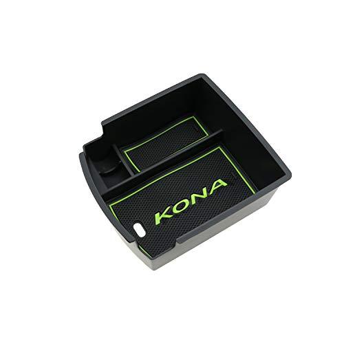 RUIYA Central Console Armlehne Box Angepasst für 2018 Hyundai Kona Aufbewahrungsbox Console Organizer Insert Tray Autozubehör Grün