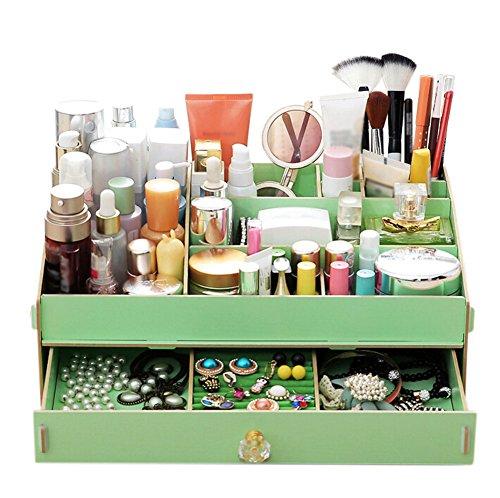 outflower Holz Beauty Organizer Kosmetik Zubehör Make Up Aufbewahrungsboxen Floral B holz grün 365232132CM