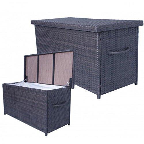 Auflagenbox ATHEN Rattan Kissenbox Gartenbox Gartenmöbel Auflagen Truhe Innenfolie NEU