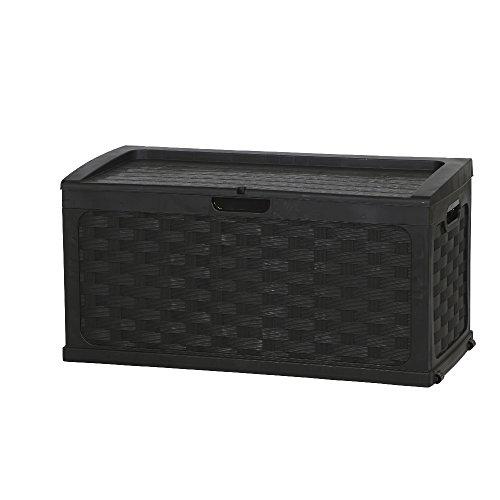 Auflagenbox  Gartenbox  Kissenbox Rattan Design Farbe schwarz ca 117 x 56 x 56 cm
