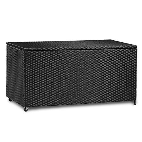 Merax Kissenbox aus Wasserdicht Polyrattan Auflagenbox Gartenbox Gartentruhe Aufbewahrungsbox Sitzbank L 118 cm x B 59 cm x H 54 cm 320 L Schwarz