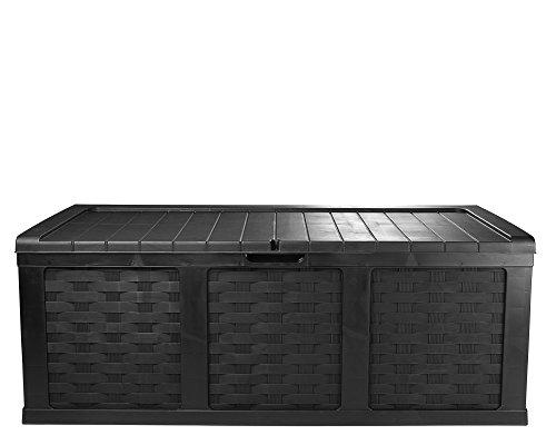 Ondis24 Kissenbox Mimbre Rattan Optik Sitztruhe Auflagenbox Anthrazit 630 Liter XXL mit Gasdruckfedern für 3 Personen als Sitzfläche Geeignet