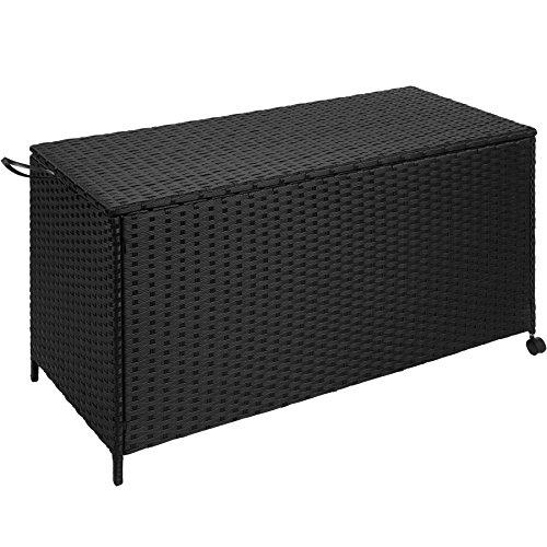 TecTake Rattan Auflagenbox Garten Kissenbox rollbar  wetterfestes Aluminiumgestell  mit Gasdruckstoßdämpfer  117x545x65cm  schwarz