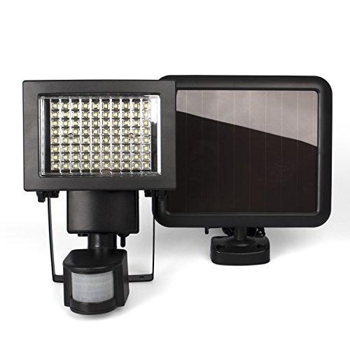 Plaights Solarleuchtefluter mit Bewegungsmeldersensor  80 leistungsstarke LEDs  IP44  Erfassungswinkel 180 Grad  ideal für Garten Garage Carport Veranda