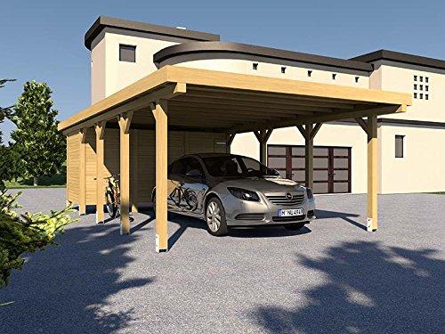Carport Flachdach SILVERSTONE XII 500x800 cm Mit Geräteraum Bausatz Flachdachcarport