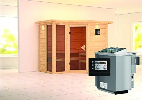 Amara - Karibu Sauna inkl 9-kW-Bioofen - mit Dachkranz -