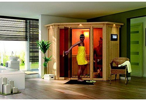 Flora 1 - Karibu Sauna SPARSET inkl 9 kW Bio-Ofen Dachkranz Leuchte Zubehör-Set