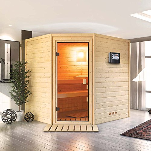 Karibu Sauna Elia mit Dachkranz Eckeinstieg - für niedrige Räume
