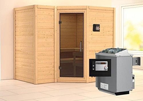 Karibu Sauna Sahib 2 inkl 9-kW-Ofen mit externer Steuerung ohne Dachkranz mit moderne Saunatür