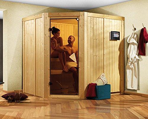Karibu Sauna Siirin inkl 9-kW-Ofen mit externer Steuerung ohne Dachkranz mit moderner Saunatür