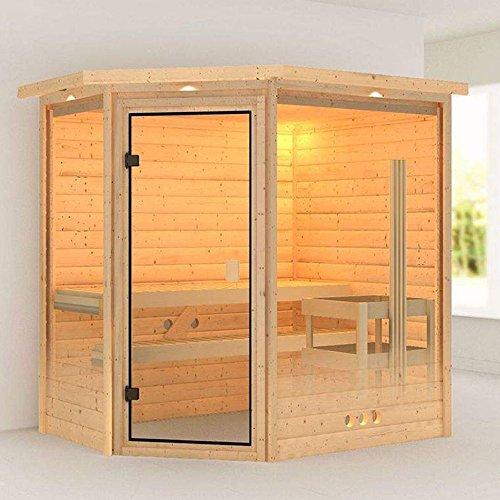 Karibu Sauna Yassin mit Dachkranz Eckeinstieg - für niedrige Räume