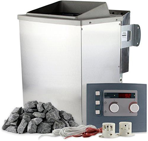 Karibu Saunaofen Bio 9 kW mit Steuerung und 20 kg Saunasteine 400 V Bio-Kombiofen inkl Verdampfer für Dampfsauna