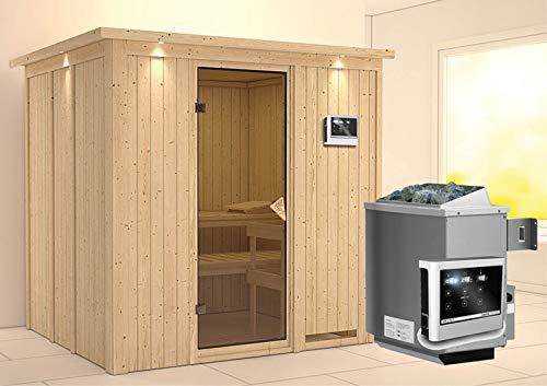 Sodin - Karibu Sauna inkl 9-kW-Ofen - mit Dachkranz -
