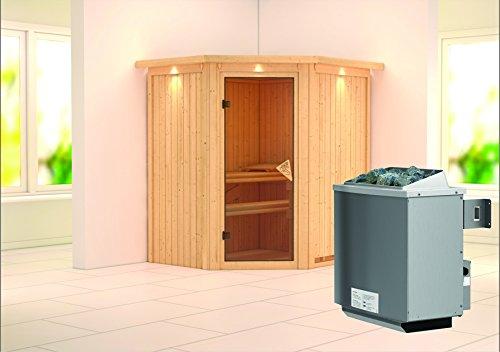 Taurin - Karibu Sauna inkl 9-kW-Ofen - mit Dachkranz -