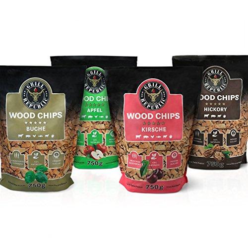 Premium Räucherchips Mix Hickory Apfel Buche und Kirsche für optimales Raucharoma beim Grillen  100 Natürliches Smoker-Holz geeignet für Kugel- Stand und Gas-Grill 4 x 750 g