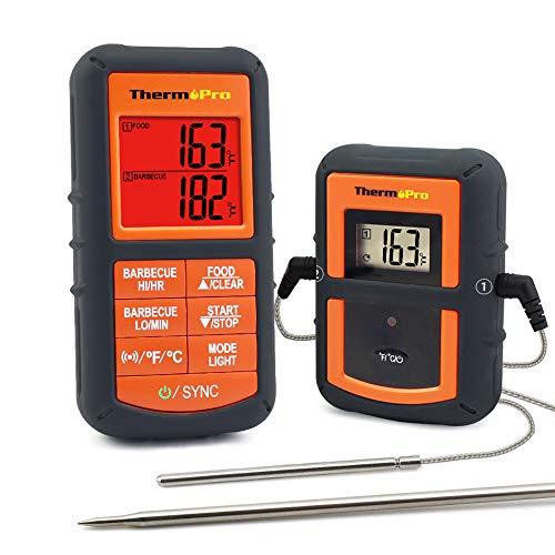 ThermoPro TP08 Barbecue Funk Grillthermometer Set Digitales Bratenthermometer BBQ Thermometer mit 2 Temperaturfühlern für BBQ Ofen und Grills