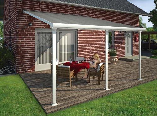 Hochwertige Aluminium Terrassenüberdachung Terrassendach 400x425 cm TxB - weiß