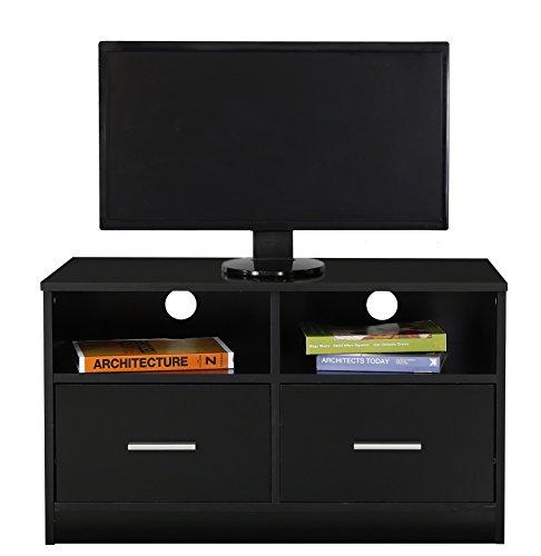 Absolute Deal TV Ständer Schrank mit 2 Schubladen und Regal Holz schwarz 80 x 39 x 49 cm
