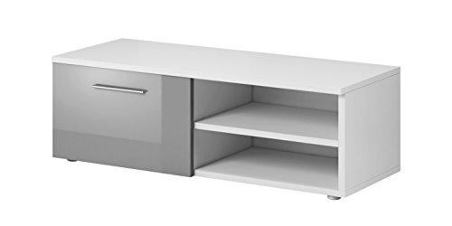 E-Com TV-Schrankständer Vegas 90cm Korpus matt weißFronten Hochglanz grau