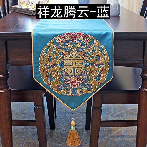 Esstisch Tischfahne klassischer Couchtisch Flagge Xianglong Stickerei Bett Schwanz Flagge Dekoration TV Schrank Flagge blau 11 8x82 7 Zoll 30x210 cm