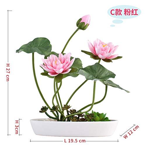 Xin Pang Garten Party Hochzeit Dekoration Emulation Flower Kit Lotus Wohnzimmer Esstisch TV-Schrank Lotus Pflanzen mit Dekorativen Blumen Blume Bar-Flower Pink Lotus Blumen