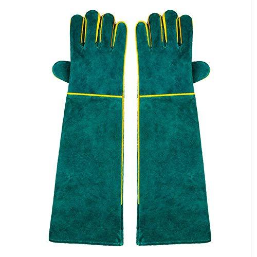 Aolvo Tierhandschuhe kratz-  bissfeste Handschuhe extra lang verdicktes Rindsleder sichere langlebige Handschuhe für Hunde Katzen Vögel Schlange Eidechse Wildtiere Schutzhandschuhe grün
