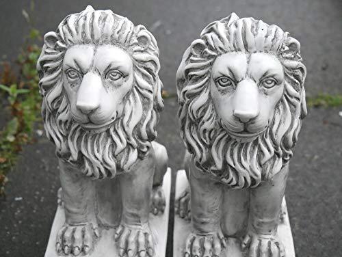 HomeZone 2 Stück Stein-Effekt Harz Sitzende Löwen Tier Garten Ornamente Handarbeit Skulpturen Rasen Statuen Antik Deko Wildtiere Skulpturen