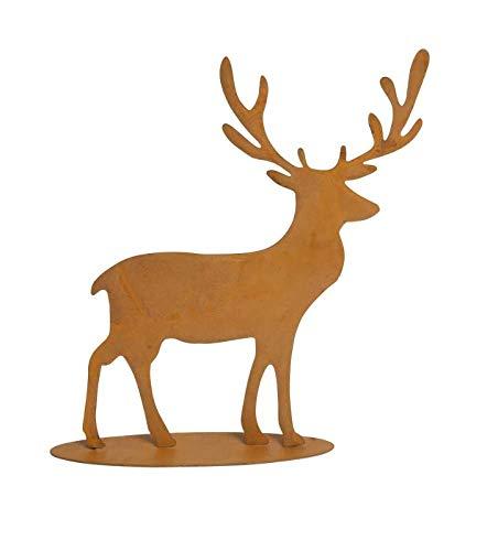 PW Rostoptik Hirsch auf Platte 20 cm Dekoration Garten Figur Wildtiere