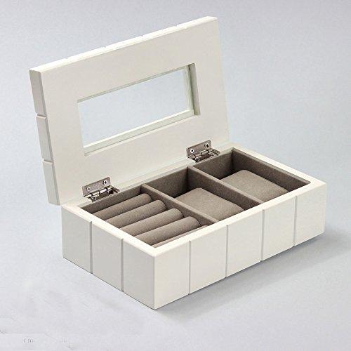 Charming House Design Kleine Schmuckkästchen aus Holz weiß mit Schubladen Schmuck Schrank Box Truhe