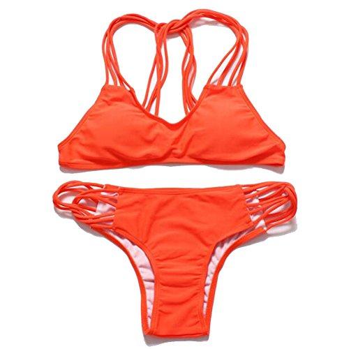 YXINY Bademode Badeanzüge Bikini Sexy Kleine Truhe Zusammengetragen Badeanzug DREI-Punkt-Typ Dünn Teilt Heiße Quellen Weiblicher Badeanzug Baden Mädchen Bikinis Farbe  Orange red größe  M