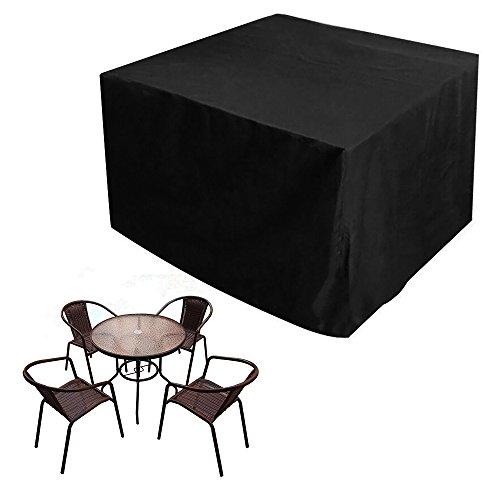 JTDEAL Schutzhülle Gartenmöbel Oxford Polyester Gartenmöbel Abdeckung Abdeckhaube hülle Cover Plane für Tisch Sofa gartenliege Stühle 123x123x74 cm Schwarz