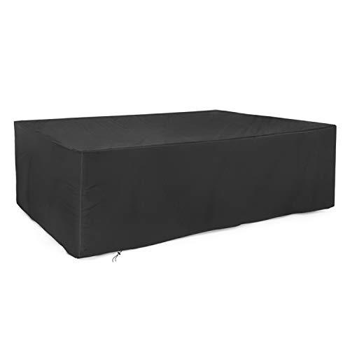 Dokon Abdeckung für Gartenmöbel 420D Oxford-Gewebe Gartentisch Schutzhülle Rechteckig 213x132x72cm - Schwarz