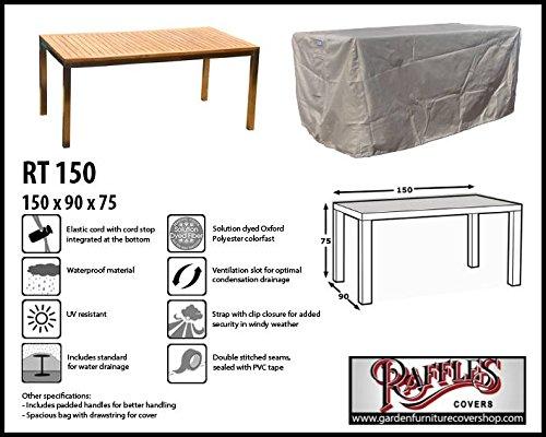 Raffles Covers RT150 Abdeckung für Esstisch 150 x 90 cm Schutzhülle für rechteckigen Gartentisch Abdeckhaube für Gartentisch Gartenmöbel Abdeckung